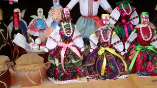 UKRAINE, KIEV, AUGUST 14, 2016: Colorful dolls of Ukrainian women in traditional clothes in souvenir shop