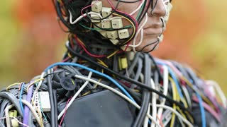 UKRAINE, KIEV, AUGUST 17, 2016: Face of sculpture of human, made of electric wires and electronic devices