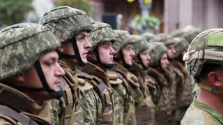 UKRAINE, KIEV, AUGUST 24, 2016: Ceremonial parade at Kiev main street - Khreshchatyk,dedicated to 25th anniversary of Ukraines independence. Soldiers in military uniform. Servicemen at military parade