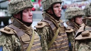 UKRAINE, KIEV, AUGUST 24, 2016: Ceremonial parade at Kiev main street - Khreshchatyk,dedicated to 25th anniversary of Ukraines independence. Warriors in military uniform. Servicemen at military parade