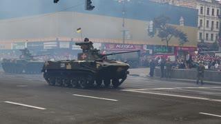 UKRAINE, KIEV, AUGUST 24, 2016: Ceremonial parade of military hardware at Kiev main street - Khreshchatyk, dedicated to the 25th anniversary of Ukraines independence. Military parade in Kiev, Ukraine