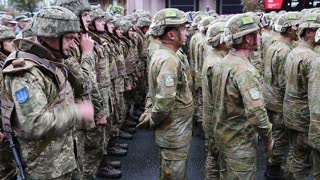 UKRAINE, KIEV, AUGUST 24, 2016: Military personnel in uniform at military parade in Kiev, dedicated to anniversary of Ukraines independence. Soldiers in military uniform. Servicemen at military parade