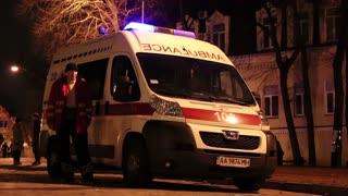 UKRAINE, KIEV, DECEMBER 1, 2013: Pro-EU rallies in Ukrainian capital Kiev after government called off EU deal. Ambulance car