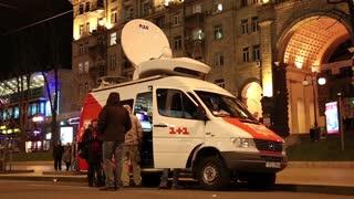 UKRAINE, KIEV, DECEMBER 1, 2013: Pro-EU rallies in Ukrainian capital Kiev after government called off EU deal. Car of TV company