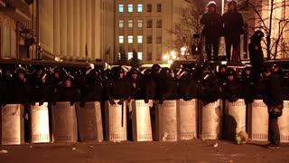 UKRAINE, KIEV, DECEMBER 1, 2013: Pro-EU rallies in Ukrainian capital Kiev after government called off EU deal. Special military forces
