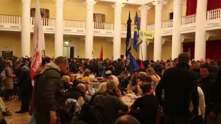 UKRAINE, KIEV, DECEMBER 1, 2013: Pro-EU rallies in Ukrainian capital Kiev after government called off EU deal. Ukrainian protesters inside of Kiev State City Administration.