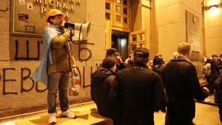 UKRAINE, KIEV, DECEMBER 1, 2013: Pro-EU rallies in Ukrainian capital Kiev after government called off EU deal. Ukrainian protesters near Kiev State City Administration.