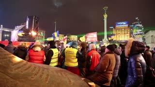 UKRAINE, KIEV, DECEMBER 17, 2013: Pro-EU rallies in Ukrainian capital Kiev after government called off EU deal.
