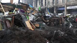 UKRAINE, KIEV, MARCH 4, 2014: Political crisis. Burnt down building of trade union and barricades on the Khreshchatyk street and Independence square in Kiev, Ukraine, March 4, 2014