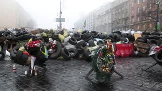 UKRAINE, KIEV, MARCH 4, 2014: Political crisis. People near barricades on the Khreshchatyk street - main street of Kiev, Ukraine, March 4, 2014