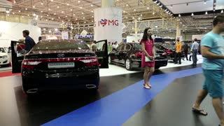 UKRAINE, KIEV, MAY 31, 2013: Black Hyundai Grandeur and Hyundai Genesis at yearly automotive-show in Kiev, Ukraine