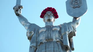 UKRAINE, KIEV, MAY 9, 2016: Mother Motherland - monumental statue in Kiev, capital of Ukraine. Sculpture is a part of national museum of the history of Ukraine in Second World War. Memorial complex