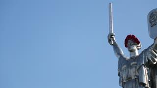 UKRAINE, KIEV, MAY 9, 2016: Mother Motherland - monumental statue in Kiev, capital of Ukraine. The sculpture is a part of national museum of history of Ukraine in Second World War. Memorial complex