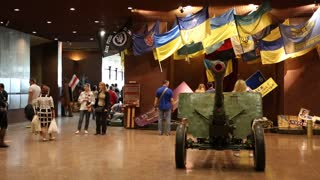 UKRAINE, KIEV, MAY 9, 2016: People in national museum of the history of Ukraine in the Second World War. Memorial complex