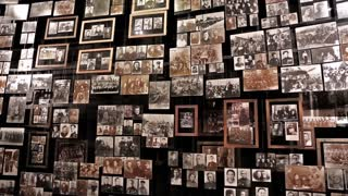 UKRAINE, KIEV, MAY 9, 2016: Retro photo exhibition in national museum of history of Ukraine in World War 2. Wall with old photos