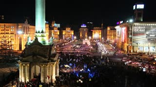 UKRAINE, KIEV, NOVEMBER 27, 2013: Pro-EU rallies in Ukrainian capital Kiev after government called off EU deal.