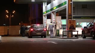 UKRAINE, KIEV, OCTOBER 30, 2012: Motor cars on refuelling station in Kiev, Ukraine
