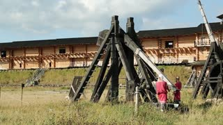 UKRAINE, KIEV REGION, KOPACHIV, AUGUST 14, 2016: Old wooden catapults, cultural and entertainment festival in Kyivan Rus park in Kopachiv village, historical reconstruction of ancient Kiev