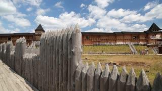 UKRAINE, KIEV REGION, KOPACHIV VILLAGE, AUGUST 14, 2016: Castle in Kyivan Rus park in Kopachiv village, historical reconstruction of ancient Kiev, wooden fortress