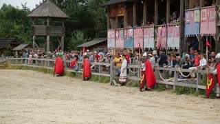 UKRAINE, KIEV REGION, KOPACHIV VILLAGE, AUGUST 14, 2016: Cultural and entertainment festival in Kyivan Rus park in Kopachiv village, historical reconstruction of ancient Kiev, knights in armours