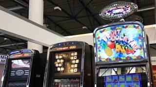 UKRAINE, KIEV, SEPTEMBER 15, 2011: Arcade machines at exhibition in Kiev, Ukraine, September, 15, 2011