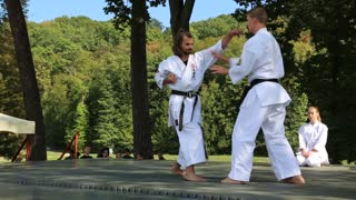 UKRAINE, KIEV, SEPTEMBER 18, 2016: Demonstrations of martial arts at the third martial arts festival in Feofania park in Kiev. Event helps young people choose sport hobbies and find themselves in life