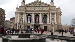 UKRAINE, LVIV, APRIL 5, 2015: People near opera and ballet theater in Lviv, Western Ukraine