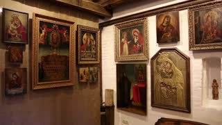 """UKRAINE, RADOMYSHL, JUNE 7, 2014: Old icons inside historical and cultural complex """"Castle-museum Radomysl"""" - the museum of Ukrainian home icons"""