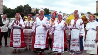 Ukrainian folk song. Woman in Ukrainian traditional costume