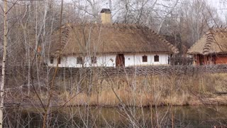 Ukrainian hut with thatched roof