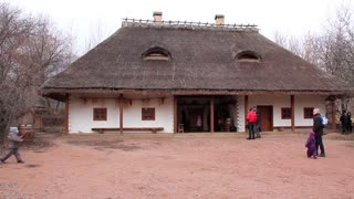 Ukrainian tavern with thatched roof in national museum