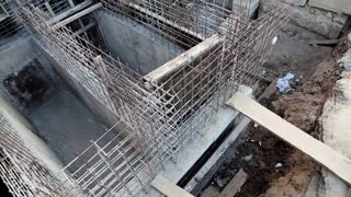 Unfinished construction. Building of foundation