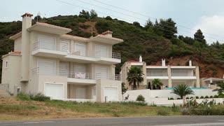 Uninhabited hotel near the road in Greece
