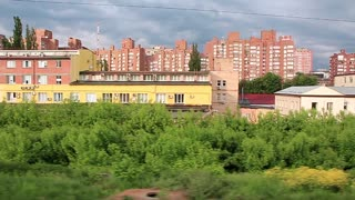 Video filming of Kiev city from moving train 720p, 59.94fps