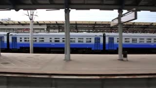 Video filming of railway platform without people from moving train 720p, 59.94fps