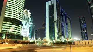 4K time lapse of road traffic near Qatar Olympic Committee tower, Doha, Qatar