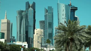 4K timelapse of road traffic in financial centre in Doha, Qatar