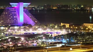 4K timelapse of Sheraton Grand Doha Resort and Convention hotel, Doha, Qatar