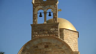 Bells on the roof of St John The Baptist Church Jordan River. The newly built Greek Orthodox Church of John Baptist, historical place of baptism of Jesus Christ in Hashemite Kingdom of Jordan