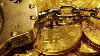 Bitcoin mining concept with handcuffs  Blockchain technology