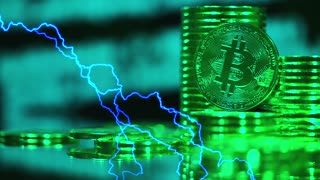 Bitcoins mining concept in green light with lightnings. Blockchain technology, Cryptocurrency Bitcoin, BTC, power consumption concept