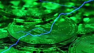 Blockchain technology, Bitcoins mining concept in green light with lightning, macro shot of bitcoins. Cryptocurrency Bitcoin, BTC, coins rotates in green light, power consumption concept