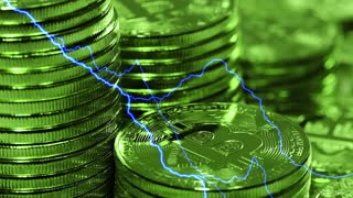 Blockchain technology, Bitcoins mining concept in green light with lightning, macro shot of bitcoins. Cryptocurrency Bitcoin, BTC, power consumption concept