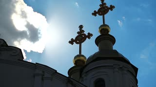 Burning crosses on the Holy Assumption Cathedral in Poltava - city located on Vorskla River in central Ukraine, capital city of Poltava province