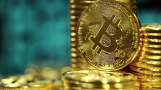 Crypto currency Gold Bitcoin, BTC, Bit Coins. Block chain technology, bitcoin mining concept, monitor with code at background