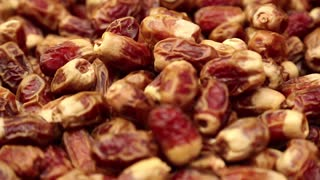Dates in market, shop counter with dates