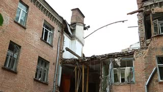 Destruction of the house from gas explosion. Ruins of building after gas explosion inside living premise, Kiev, Ukraine. Building to be demolished