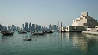 Dhows near museum of islamic art in Doha, Qatar