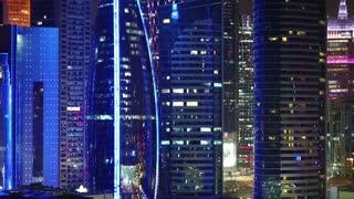 Financial centre in Doha city at night, Qatar