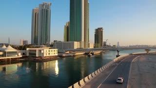 Green skyscrapers on Al reem island, Abu Dhabi - capital and 2nd most populous city in United Arab Emirates, also capital of Abu Dhabi emirate. Abu Dhabi emirate is largest of seven emirates in UAE